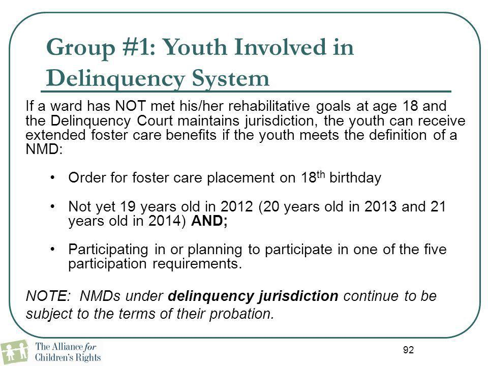 Group #1: Youth Involved in Delinquency System