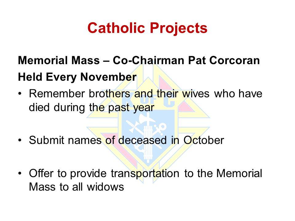 Catholic Projects Memorial Mass – Co-Chairman Pat Corcoran