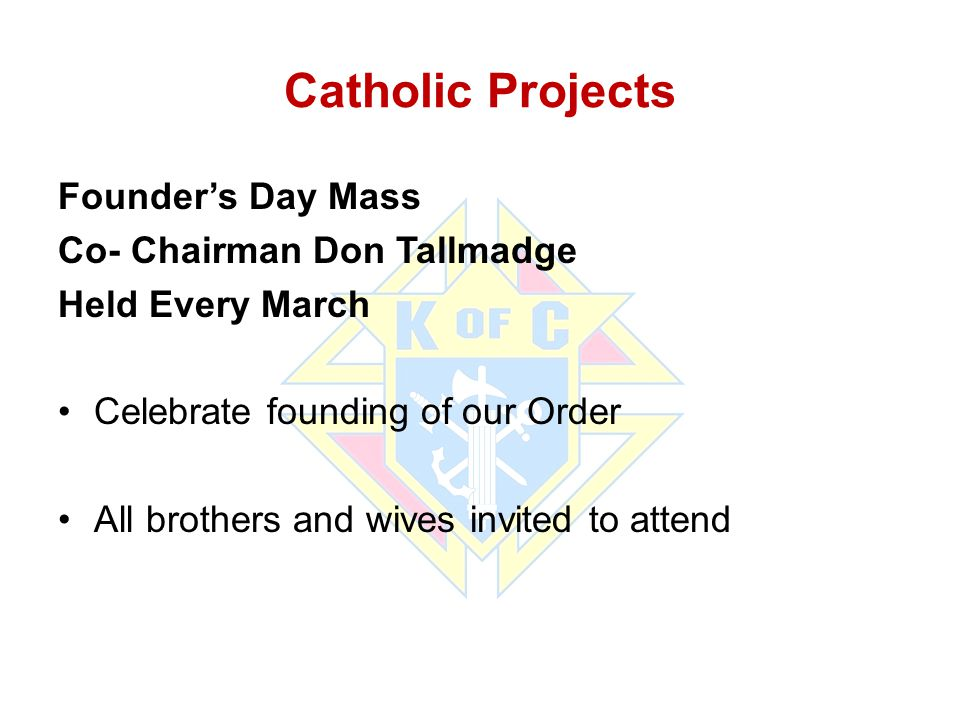 Catholic Projects Founder's Day Mass Co- Chairman Don Tallmadge