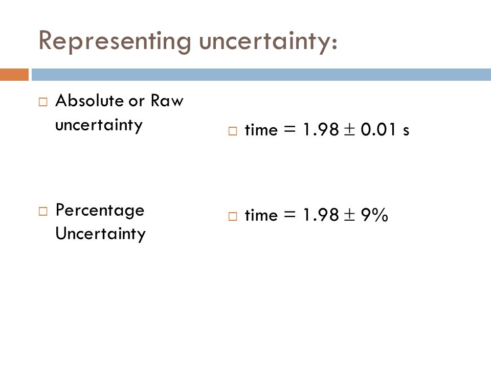 Representing uncertainty: