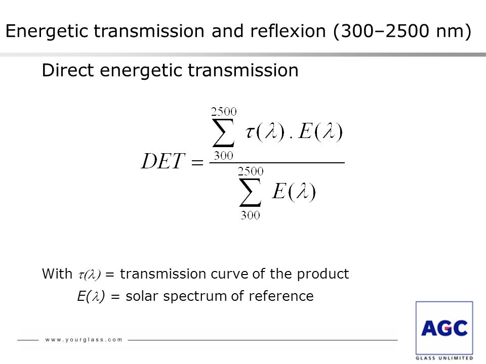 Energetic transmission and reflexion (300–2500 nm)
