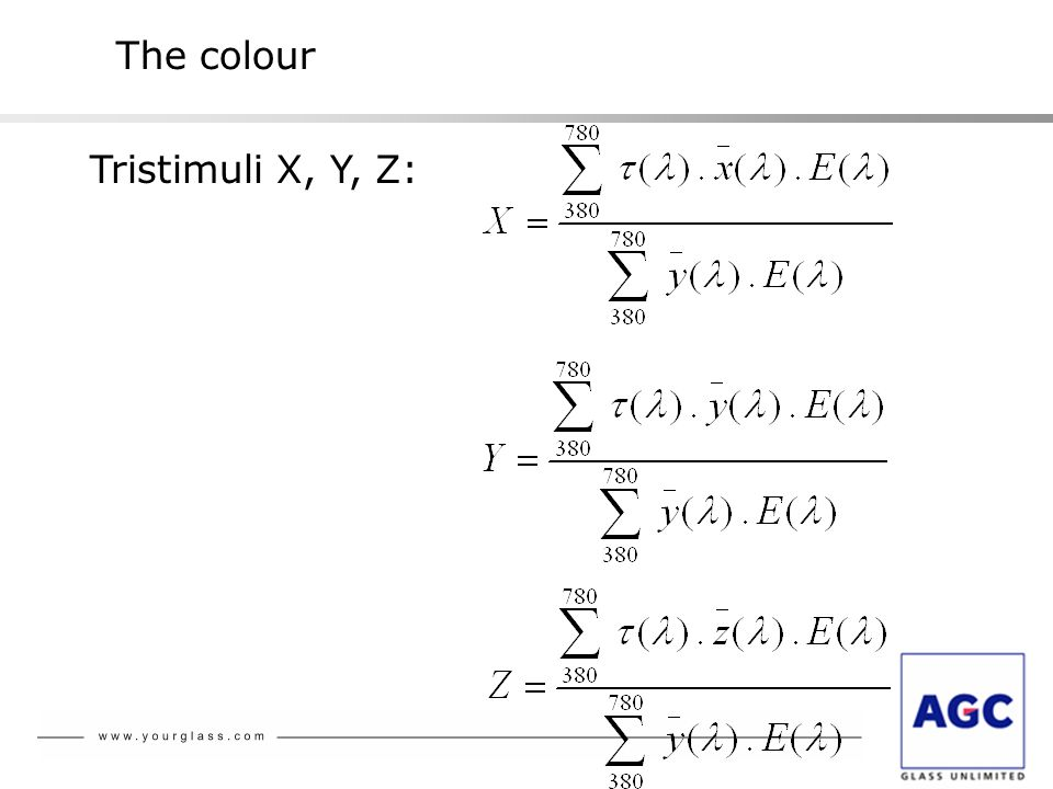 The colour Tristimuli X, Y, Z: