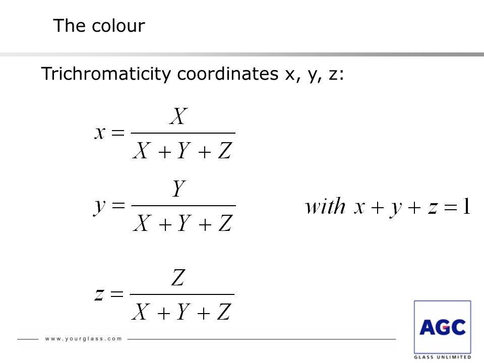 The colour Trichromaticity coordinates x, y, z: