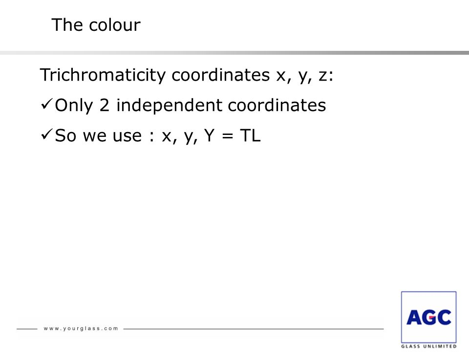 The colour Trichromaticity coordinates x, y, z: Only 2 independent coordinates.