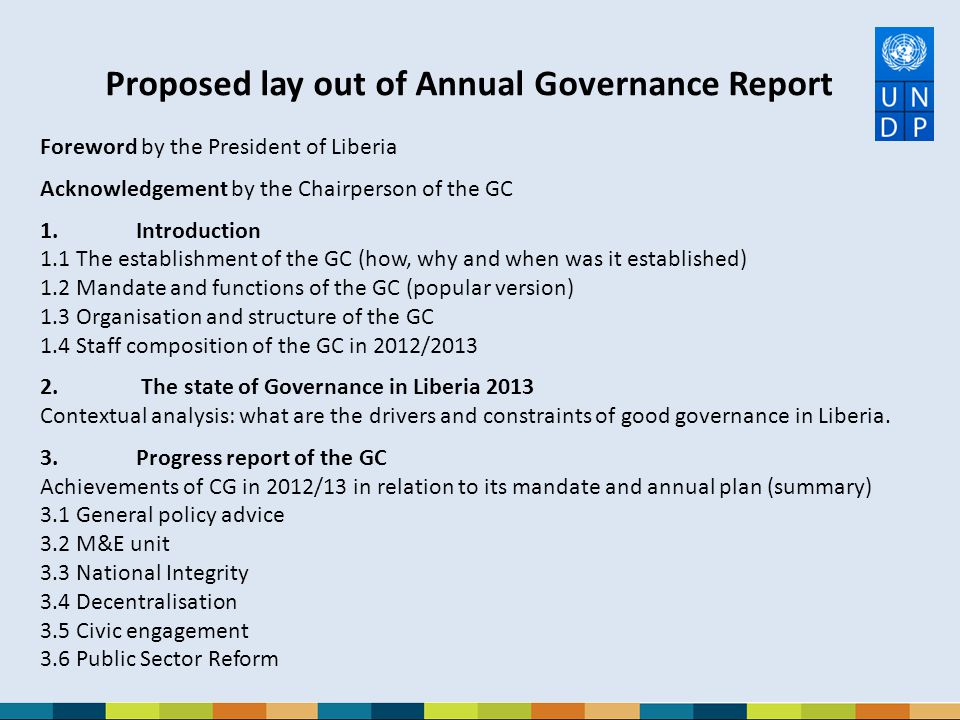 Proposed lay out of Annual Governance Report