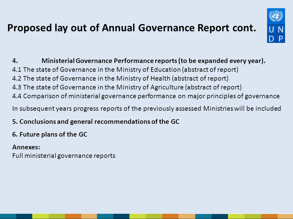 Proposed lay out of Annual Governance Report cont.