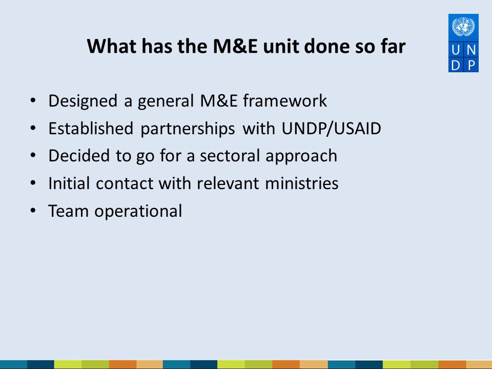 What has the M&E unit done so far