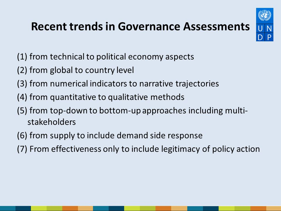 Recent trends in Governance Assessments
