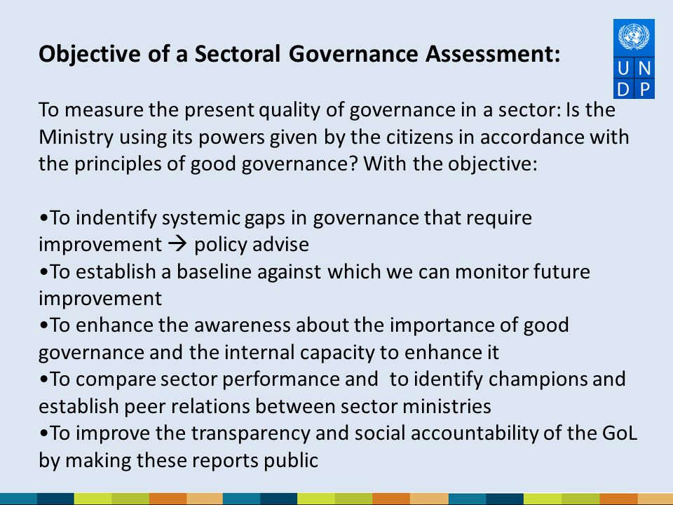 Objective of a Sectoral Governance Assessment: