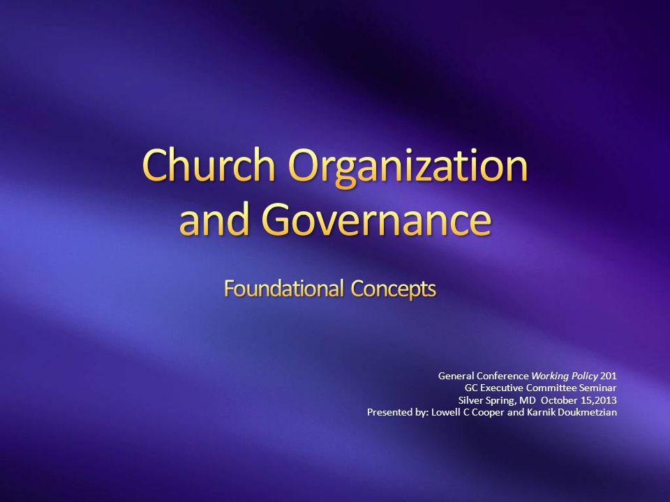 Church Organization and Governance