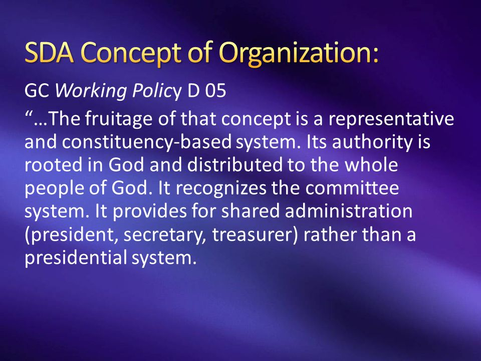 SDA Concept of Organization: