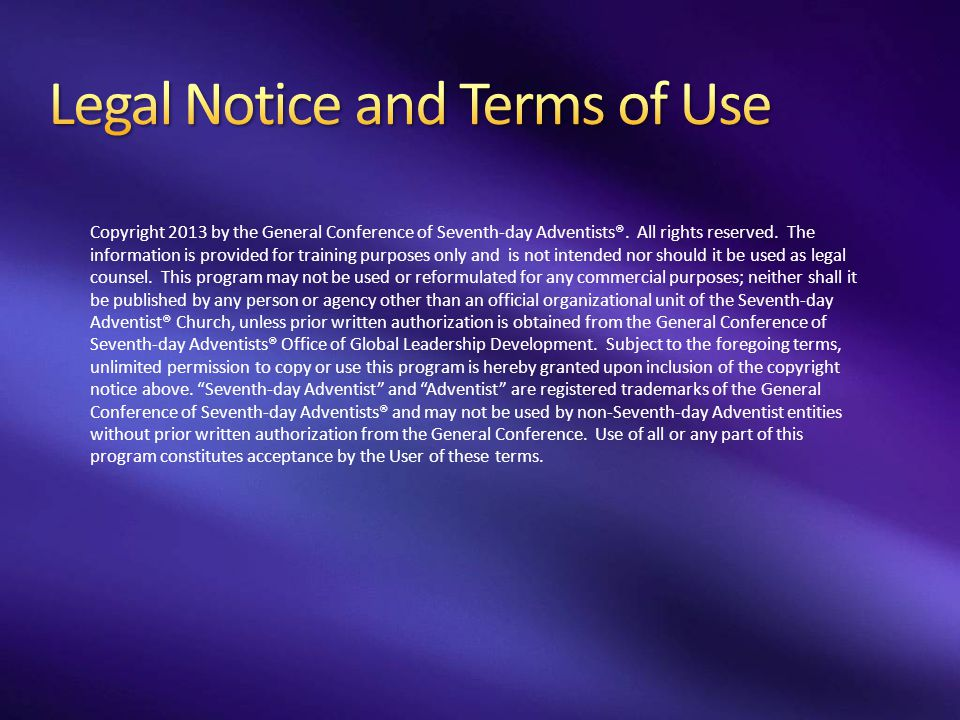 Legal Notice and Terms of Use