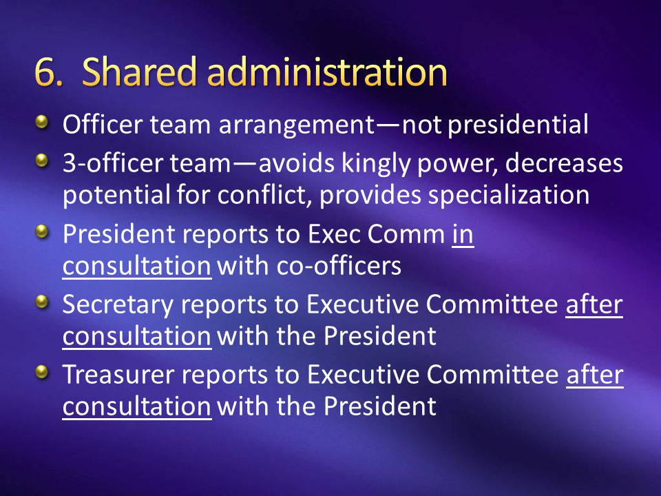 6. Shared administration