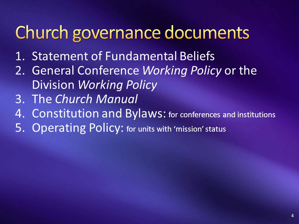 Church governance documents
