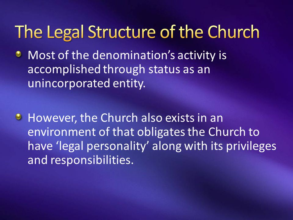 The Legal Structure of the Church