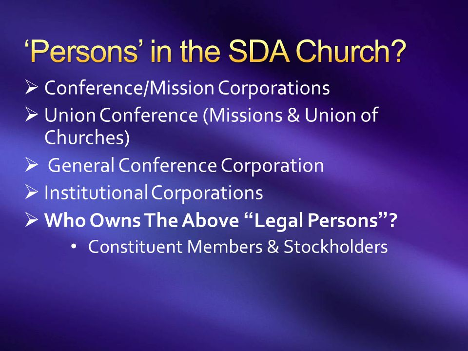 'Persons' in the SDA Church