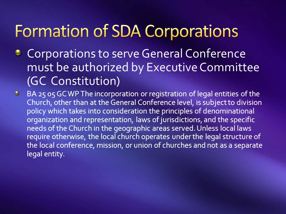 Formation of SDA Corporations