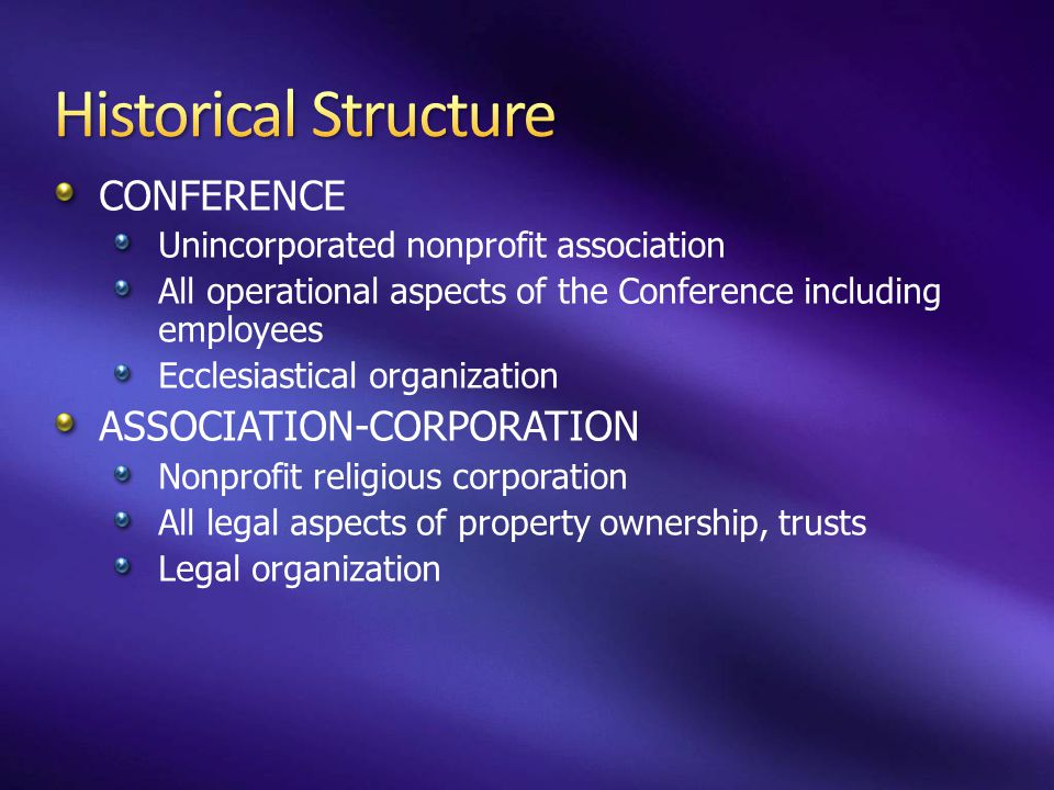 Historical Structure CONFERENCE ASSOCIATION-CORPORATION