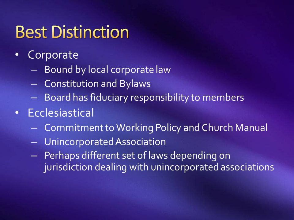 Best Distinction Corporate Ecclesiastical Bound by local corporate law