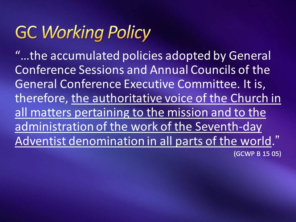 GC Working Policy
