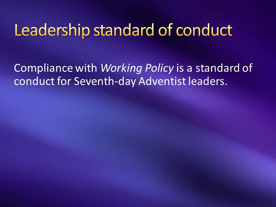 Leadership standard of conduct