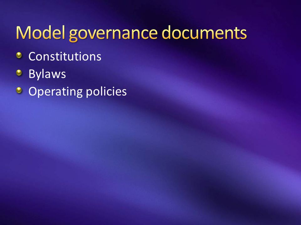 Model governance documents
