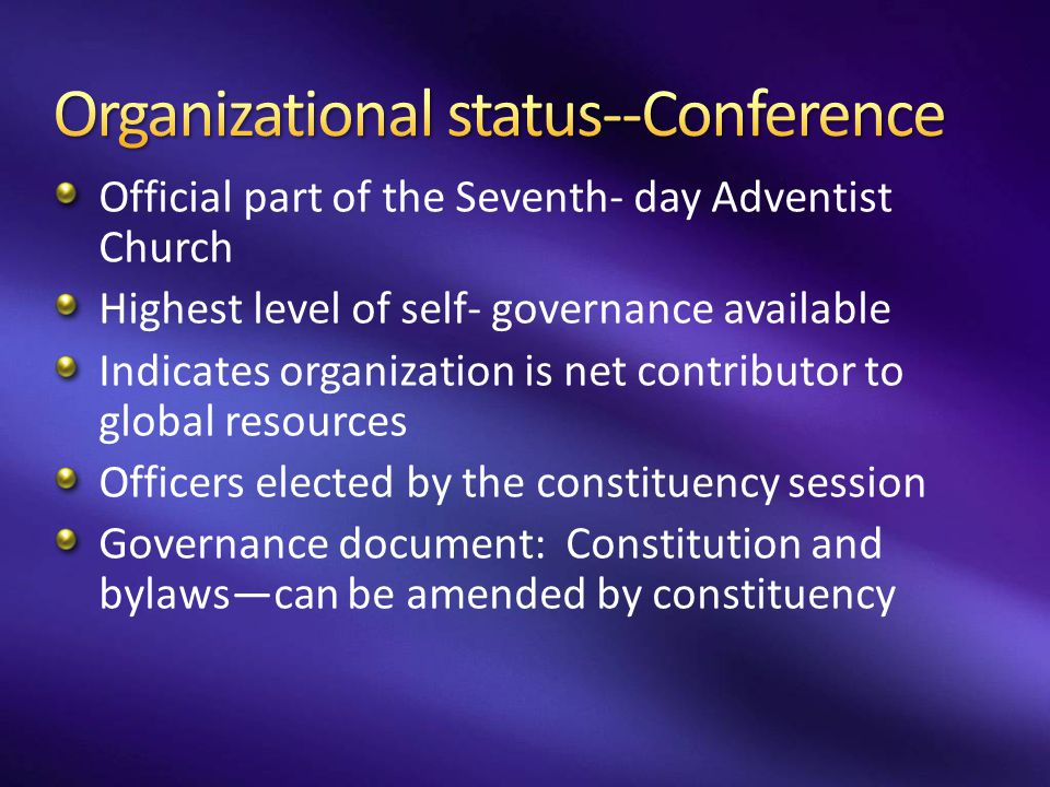 Organizational status--Conference