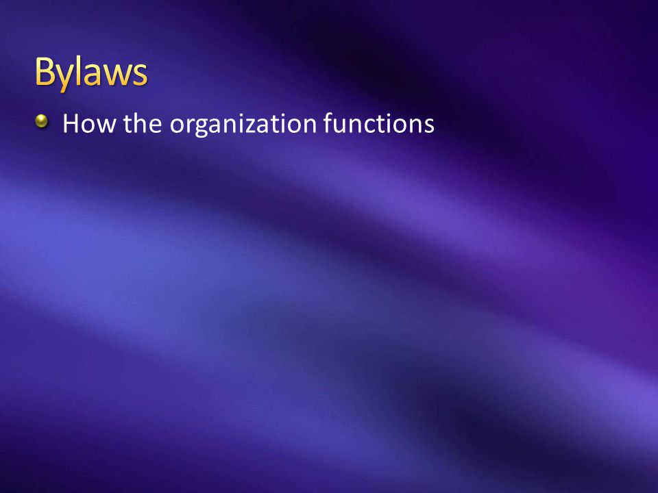 Bylaws How the organization functions
