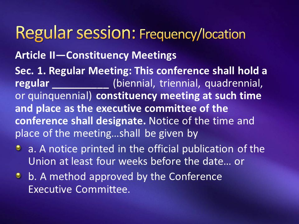 Regular session: Frequency/location
