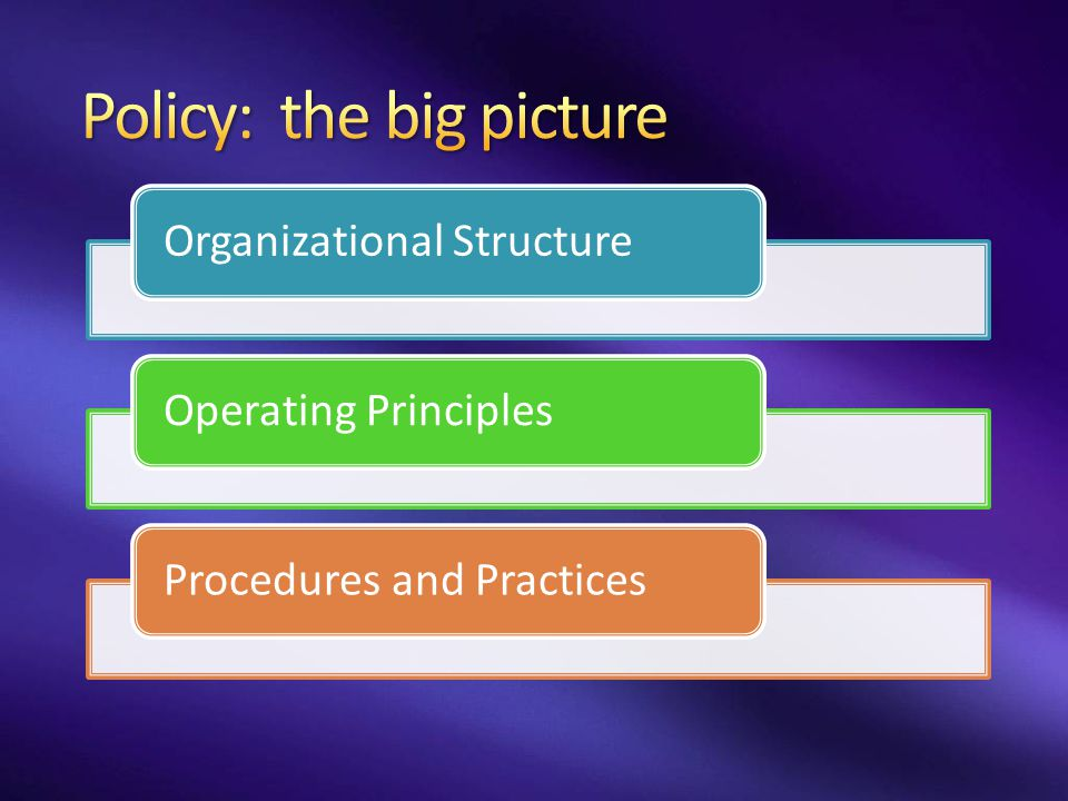 Policy: the big picture