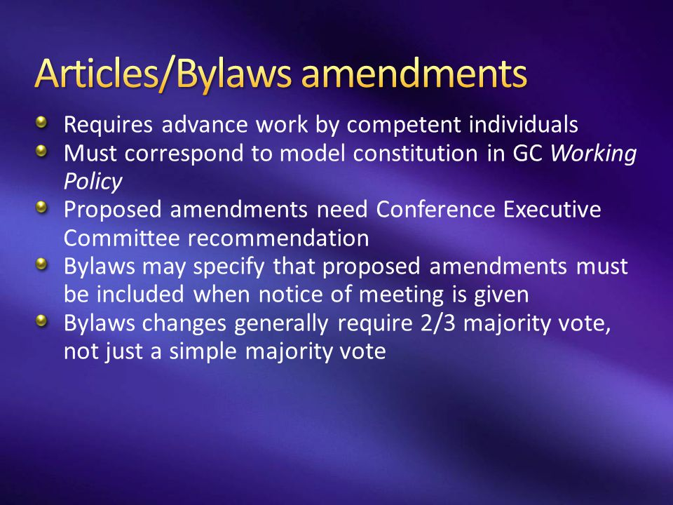 Articles/Bylaws amendments
