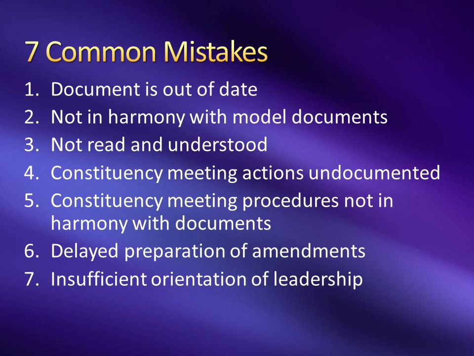 7 Common Mistakes Document is out of date
