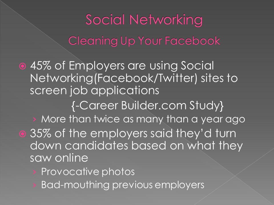 Social Networking Cleaning Up Your Facebook