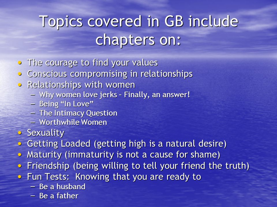 Topics covered in GB include chapters on: