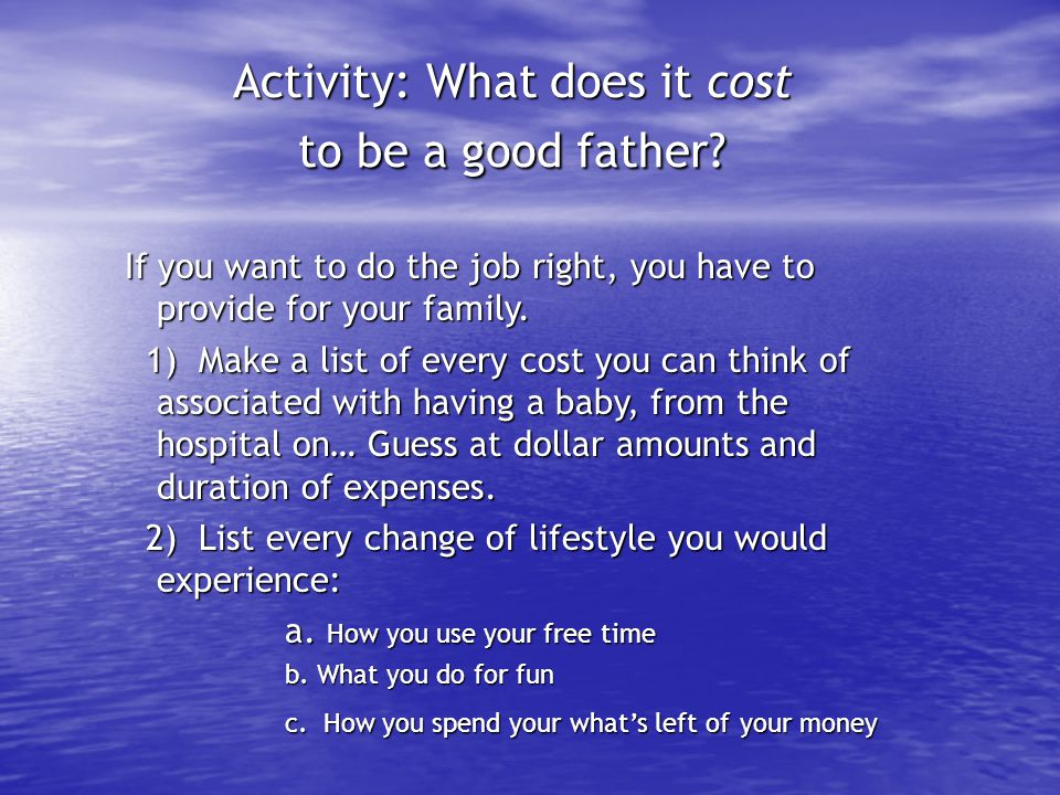 Activity: What does it cost to be a good father