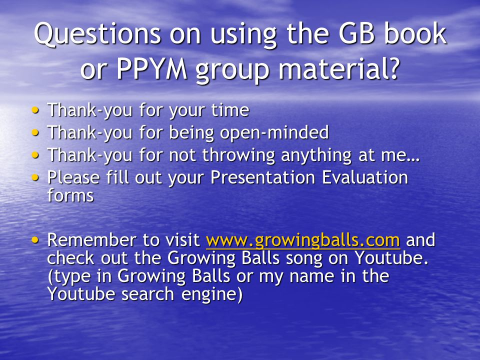Questions on using the GB book or PPYM group material