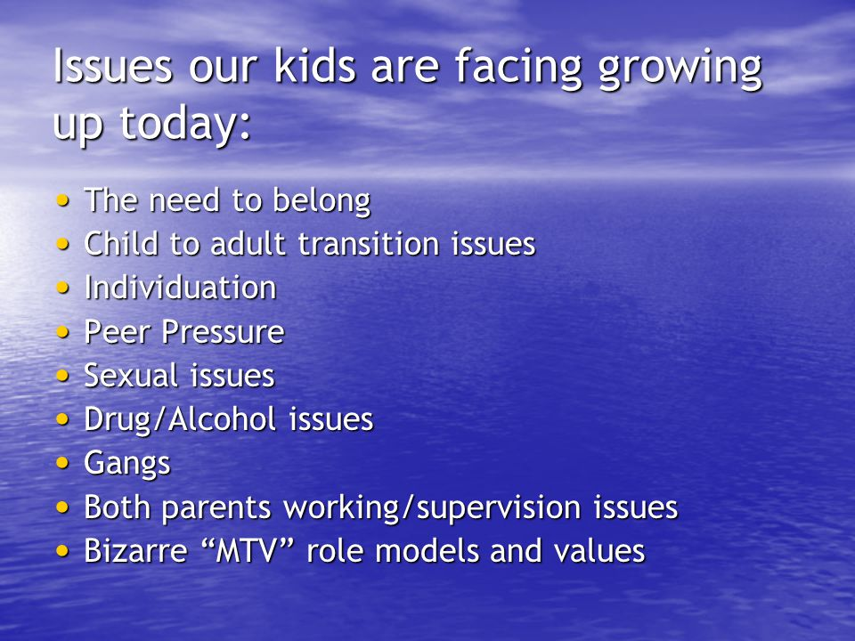 Issues our kids are facing growing up today: