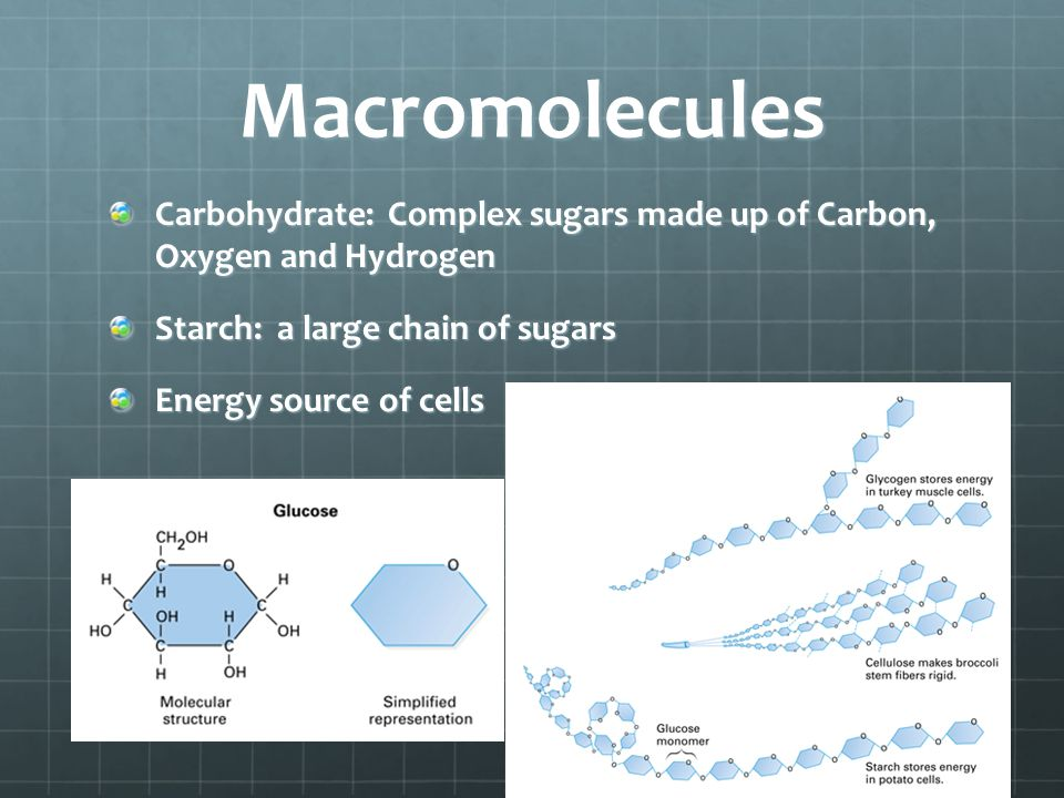 Macromolecules Carbohydrate: Complex sugars made up of Carbon, Oxygen and Hydrogen. Starch: a large chain of sugars.