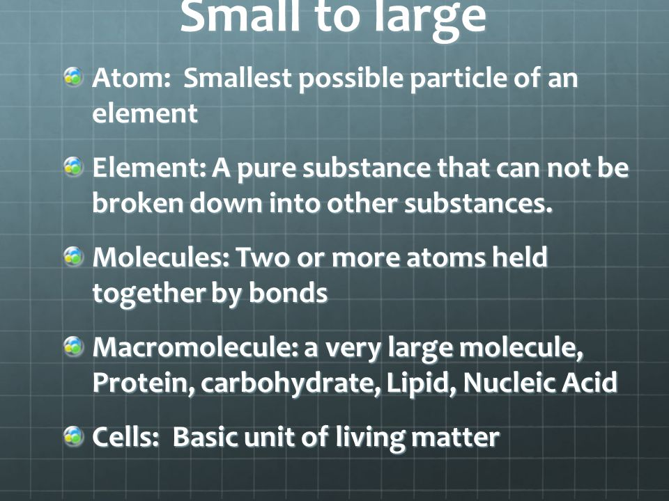 Small to large Atom: Smallest possible particle of an element