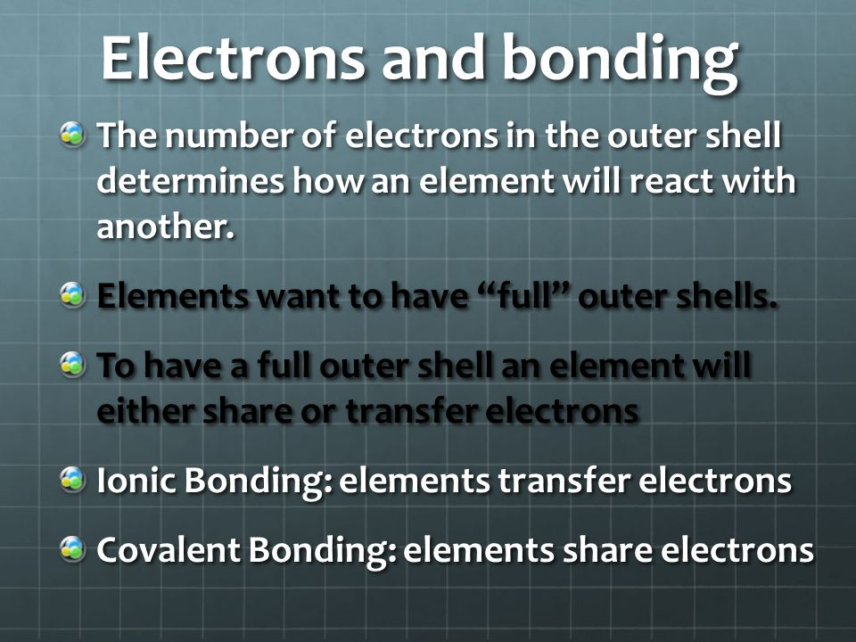 Electrons and bonding The number of electrons in the outer shell determines how an element will react with another.