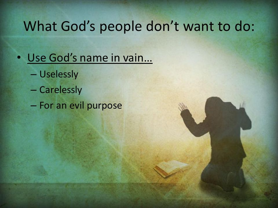 What God's people don't want to do:
