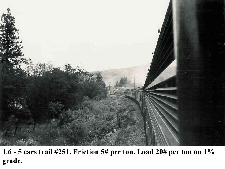 1. 6 - 5 cars trail #251. Friction 5# per ton