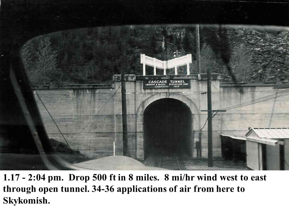 1.17 - 2:04 pm. Drop 500 ft in 8 miles. 8 mi/hr wind west to east through open tunnel.