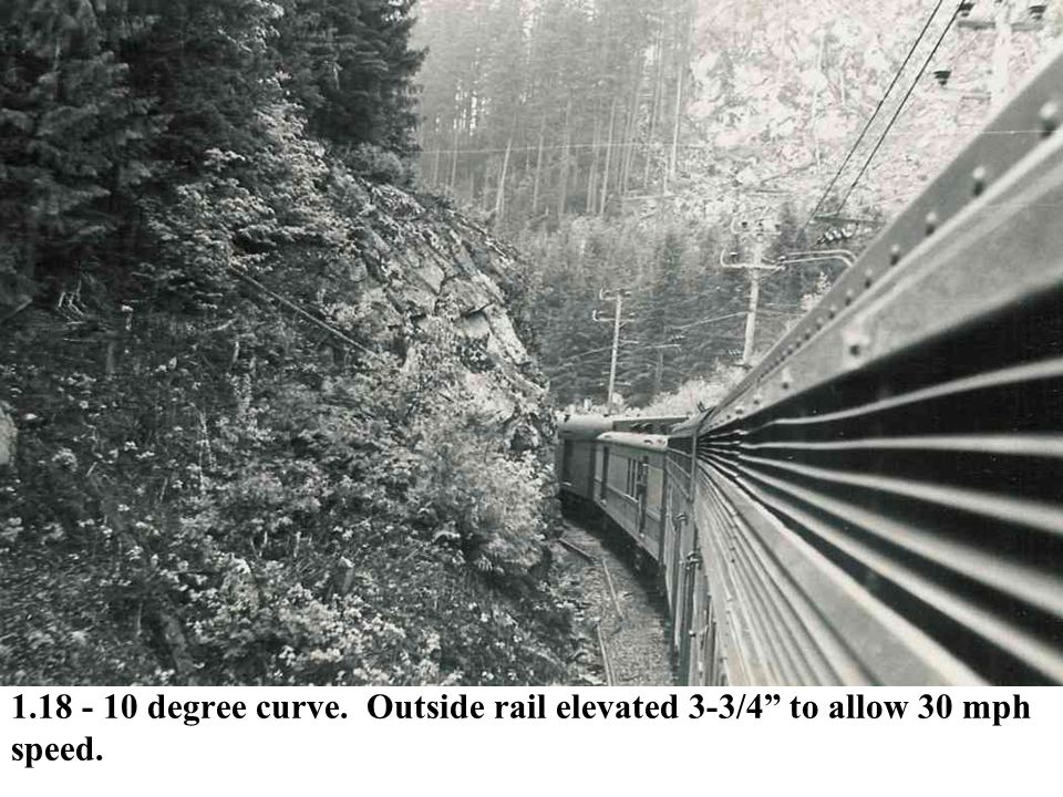 1.18 - 10 degree curve. Outside rail elevated 3-3/4 to allow 30 mph speed.