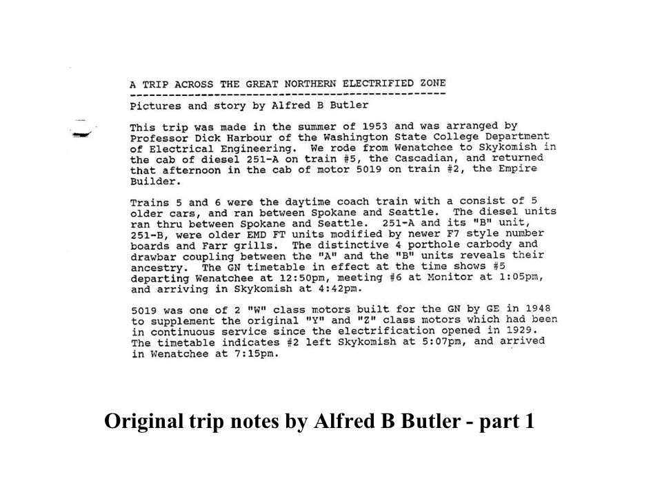 Original trip notes by Alfred B Butler - part 1