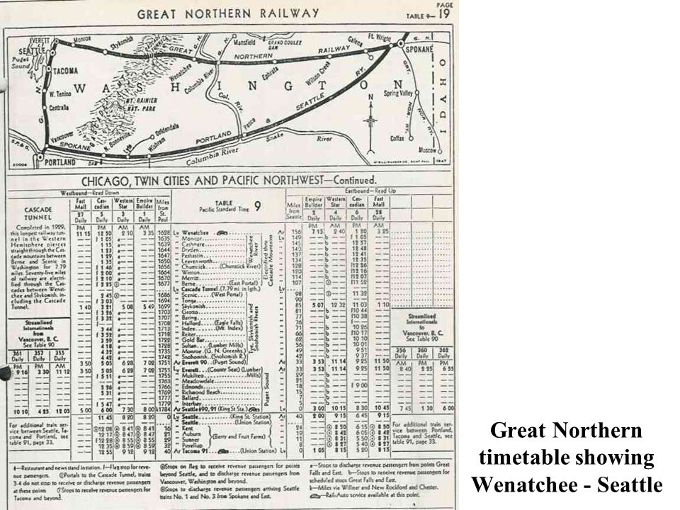 Great Northern timetable showing Wenatchee - Seattle