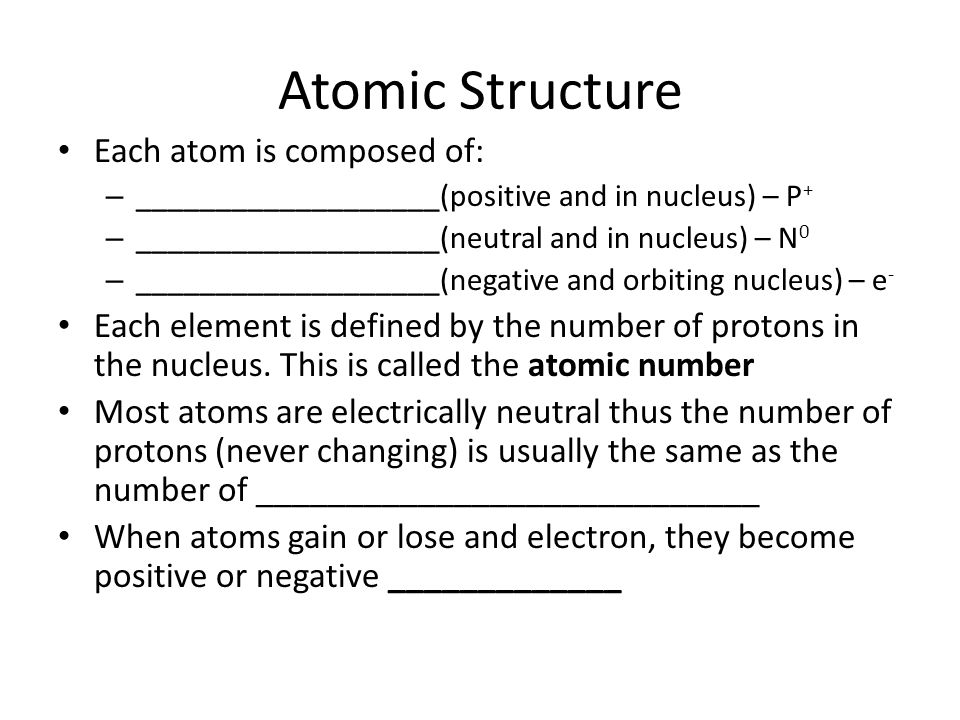 Atomic Structure Each atom is composed of: