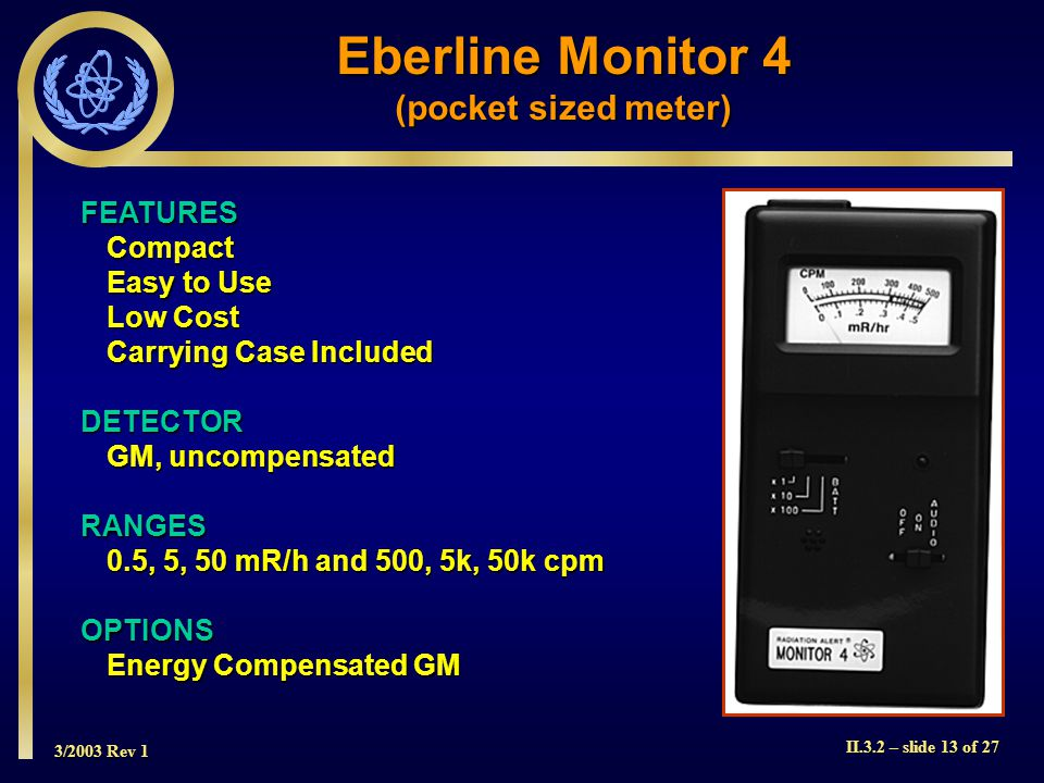 Eberline Monitor 4 (pocket sized meter) FEATURES Compact Easy to Use