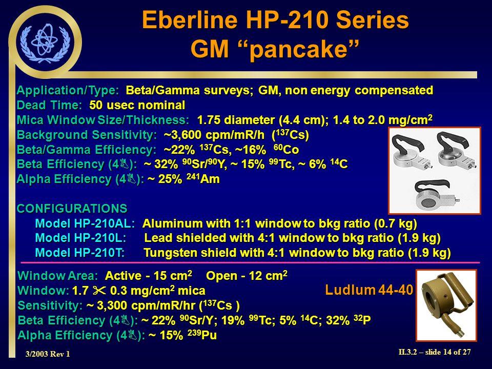 Eberline HP-210 Series GM pancake