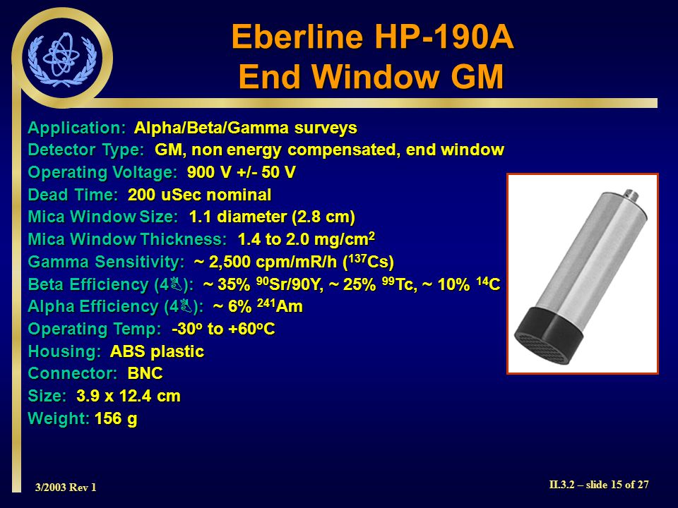 Eberline HP-190A End Window GM